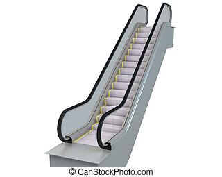 3D rendering escalator, isolated on white background