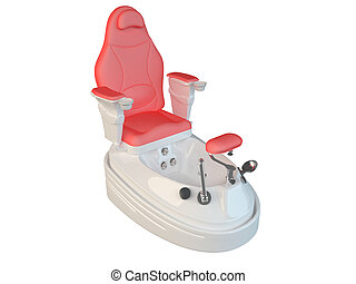 3D rendering of a pedicure chair, isolated on a white...