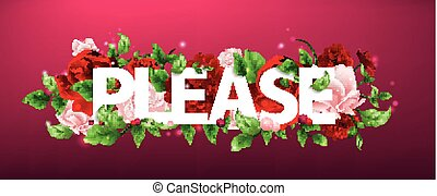 illustration of flower with lettering Please - Stock vector...