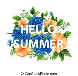 illustration of flowers with lettering Hello summer - Stock...