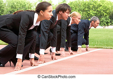 Career - Row of business people getting ready for race