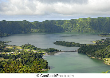Lake of Sete Cidades from Vista do Rei viewpoint in Sao...