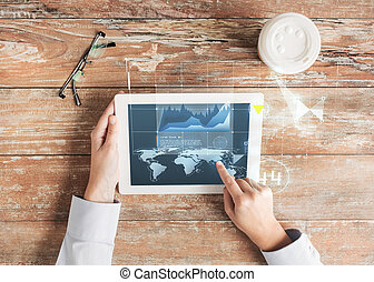 close up of hands with tablet pc and virtual graph -...