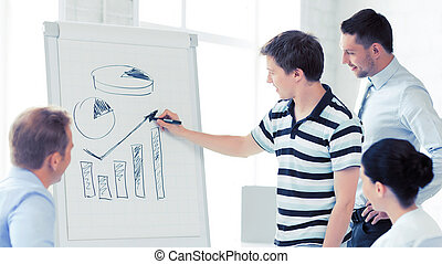 business team working with flipchart in office - smiling...