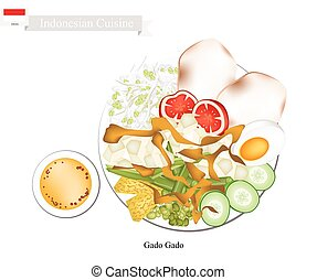 Gado Gado or Indonesian Salad with Peanut Sauce - Indonesian...