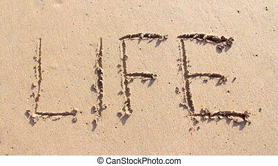 Word life written on the sand