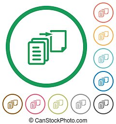 Move file outlined flat icons - Set of move file color round...