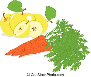 Carrot and yellow apple, vector illustrations on a transparent background