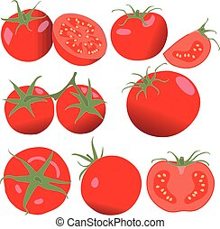 Tomato. Set tomatoes and slice. Isolated vegetables on white background