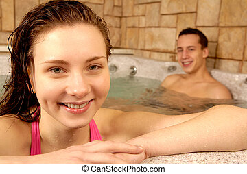 Delight - Portrait of happy girl with her boyfriend on...