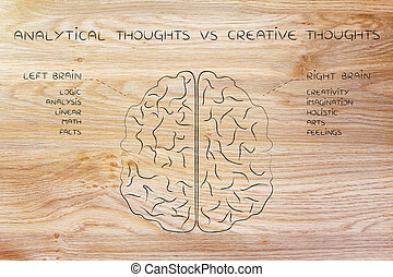 left and right brain with function descriptions, analytical...