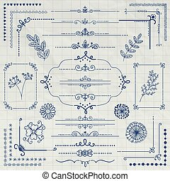Vector Pen Drawing Rustic Design Elements, Dividers -...