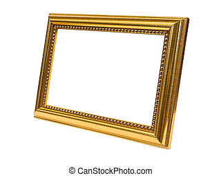 Beside Old Antique Gold frame Isolated On White Background