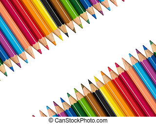 Stock Photo - The row of Multicolored Crayon,Frame with Crayon
