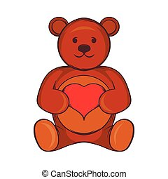 Teddy bear with red heart icon, cartoon style