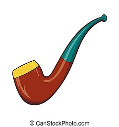 Wooden pipe icon, cartoon style - Wooden pipe icon in...