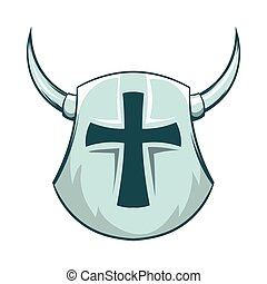 Medieval shield with cross and horns icon in cartoon style...