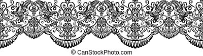 Black lace border isolated on white. Clip art