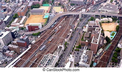 aerial view of traffic in Osaka, Japan - aerial view of...