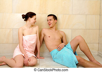 Restful couple - Image of happy couple resting after taking...