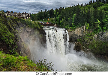 Snoqualmie Falls, famous waterfall in Washington, USA -...