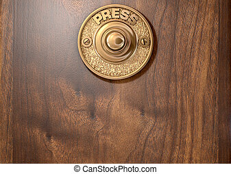 Doorbell - A 3D render of a vintage brass doorbell on an...