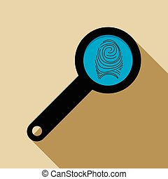 Magnifying glass with fingerprint icon, flat style