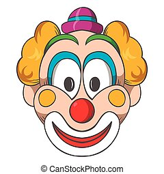 Head of clown icon, cartoon style - Head of clown icon in...