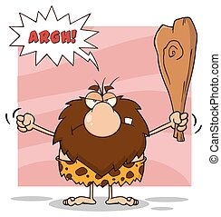 Angry Male Caveman Holding A Club