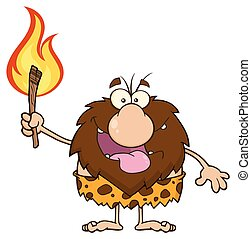 Male Caveman Holding A Fiery Torch