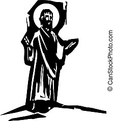 Sermon Preaching Christ - woodcut style expressionist image...