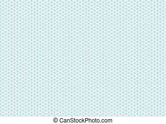Cyan isometric grid with vertical guideline on a4 sheet size...