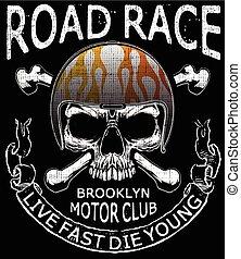 Motorcycle Helmet Skull Tee Graphic Typography Design