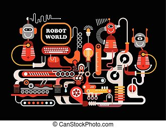 Robotic Manufacturing Vector Illustration - Robot World....
