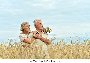 Senior couple at summer field - Portrait of a senior couple...