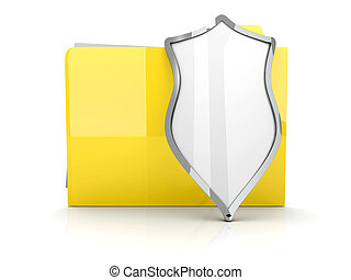A shielded and encrypted Folder - 3D illustration of a...