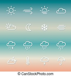 Lines weather Icon set on gradient - Lines weather forcast...