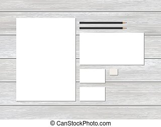 Mock-up business stationery template on wood.
