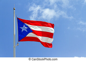 Puerto Rico flag - Beautiful Puerto Rican flag against a...