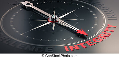 Core value - Integrity - 3D illustration of a compass over...