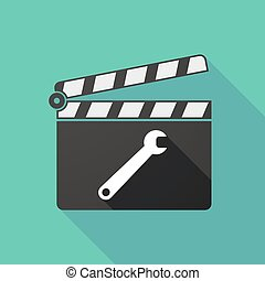 Long shadow clapperboard with a spanner - Illustration of a...
