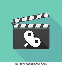 Long shadow clapperboard with a toy crank - Illustration of...