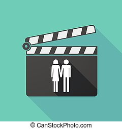 Long shadow clapperboard with a heterosexual couple...