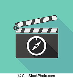 Long shadow clapperboard with a compass - Illustration of a...