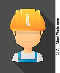 Worker male avatar wearing a safety helmet with an oil tower