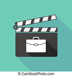 Long shadow clapperboard with a briefcase - Illustration of...