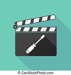 Long shadow clapperboard with a screwdriver - Illustration...