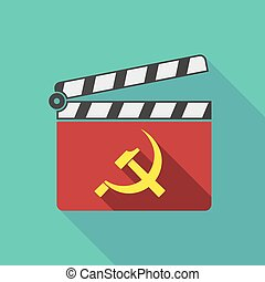 Long shadow clapperboard with the communist symbol -...