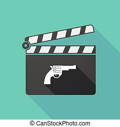 Long shadow clapperboard with a gun - Illustration of a long...