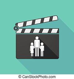 largo, sombra, Clapperboard, con, Un, macho, solo, padre,...